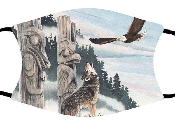 Eagle and Wolf face mask