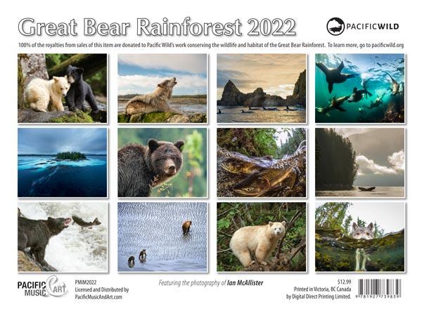 PMIM2022 Great Bear Rainforest Calendar 2022 back cover